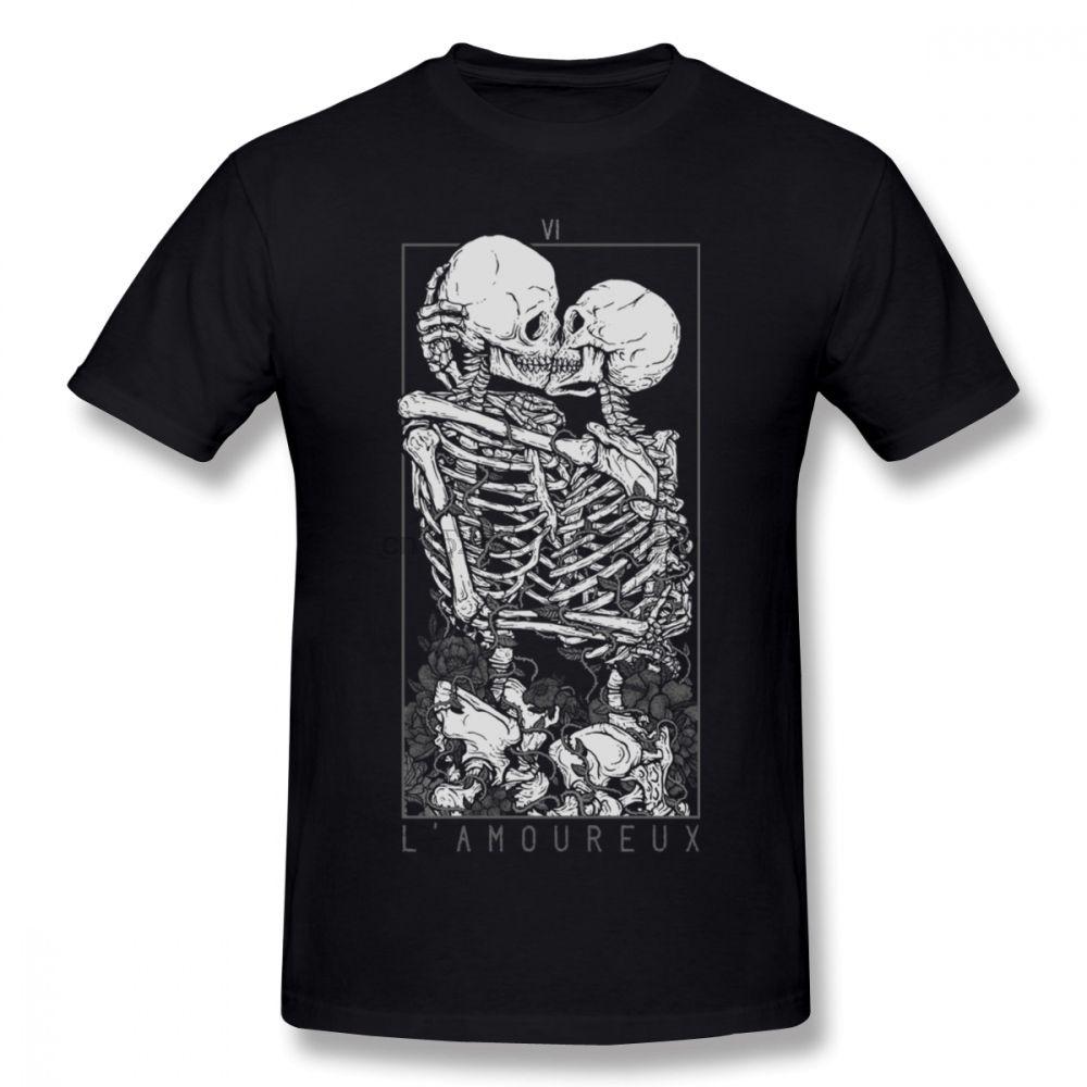Les amants squelette de crâne T-shirt homme élégant Streetwear T S-6XL ras du cou T-shirt