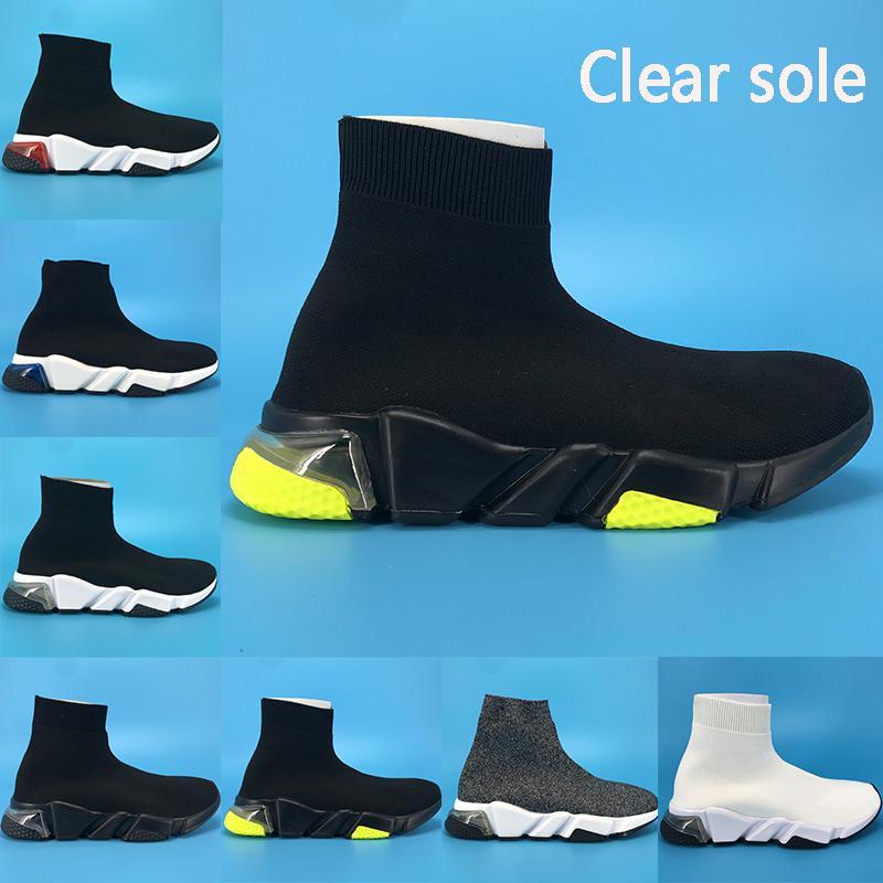 instrutor velocidade claras único Paris sapatos meias casuais nova fluo amarelo Borgonha Oreo triplos pretos brancos do estiramento da malha das sapatilhas dos homens das mulheres formadores