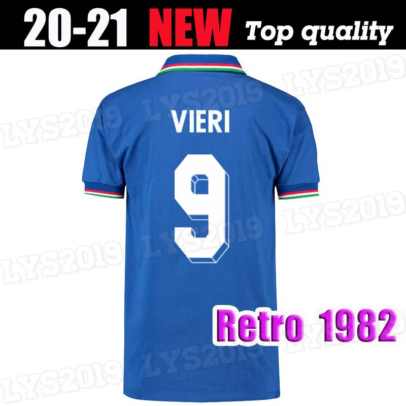 S-2XL 1982 Coupe du monde Retro Les maillots de football Italie chemises de football bleu maison qualité thai Maglia da calcio cru Maillot