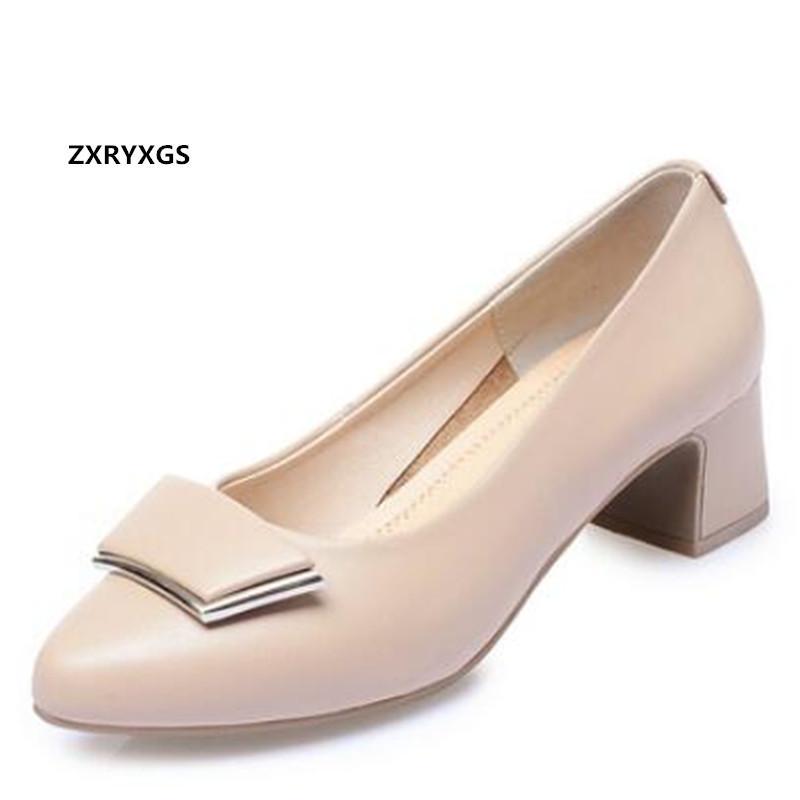 New Classic Autunno scarpe a punta del cuoio genuino di modo delle donne scarpe tacco alto Large Size Fashion Elegante Wedding Banquet