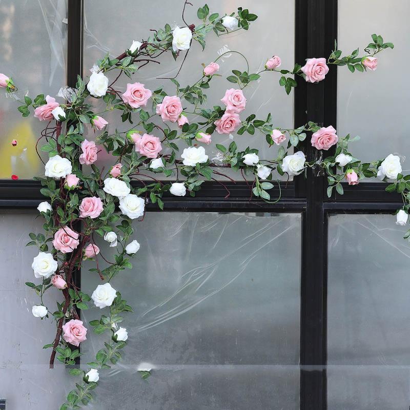 6,5 pés Artificial Rose Vine Silk Flower Garland cestos plantas casa ao ar livre Wedding Arch Garden Wall Decor, embalagem de 2 (Champagne)