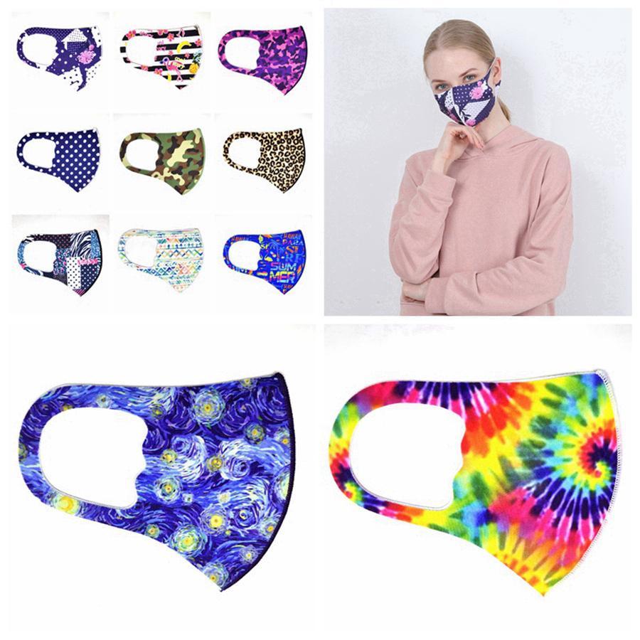 Baskılı Yüz Maskeleri Yıkanabilir toz geçirmez Kamuflaj Leopar Baskı Yüz Ağız Maskesi Ekose Çiçek Tasarımcı Maskeler 11styles 300pcs RRA3345 Maske
