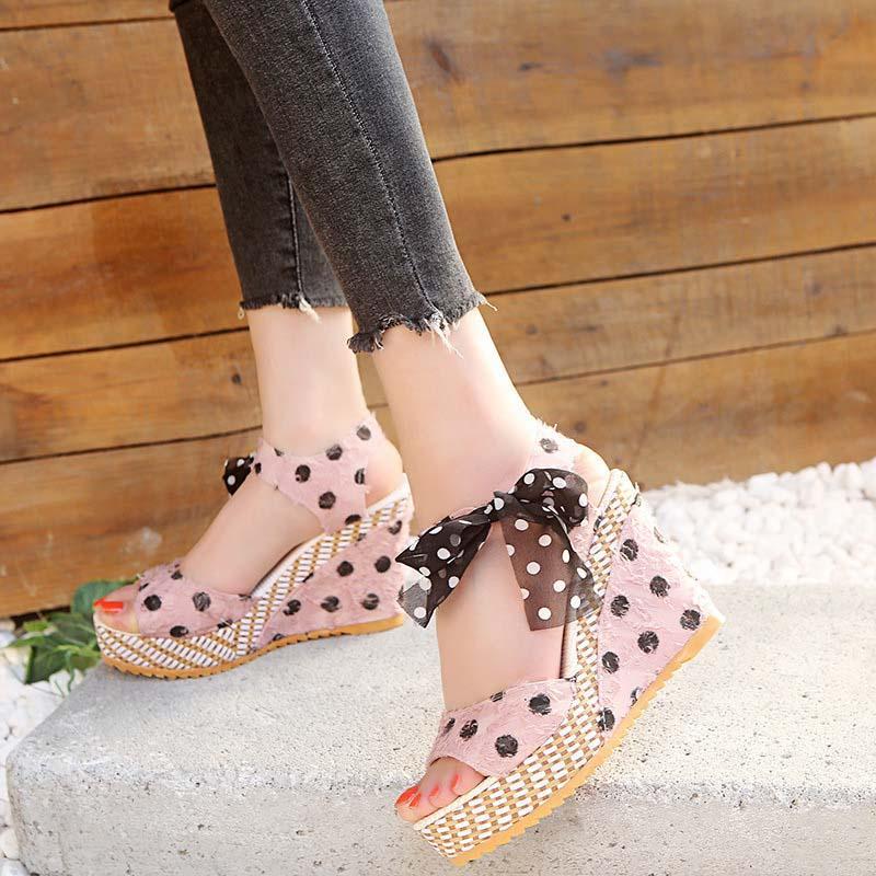 Plataforma de Mujeres sandalias Dot bowknot verano cuña Mujer altos zapatos cómodos señoras de Flock tobillo de la manera de la correa de punta abierta sandalias CS02