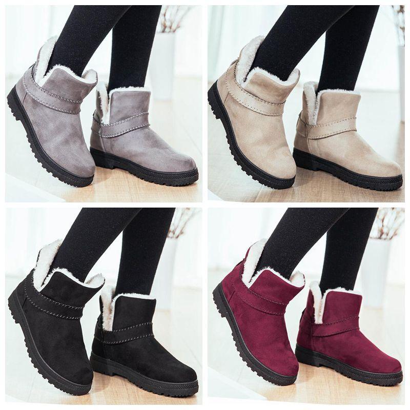 أحذية الثلوج امرأة الشتاء الكاحل البوتاس أحذية غير زلة الجوارب المسطحة الحفاظ على الدفء السيدات أزياء جلد الغنم أحذية النساء عارضة الأحذية CGY280