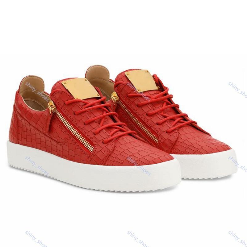Giuseppe Zanotti casual shoes Zipper Mens e basso delle donne cima piatta pattini di cuoio genuini Mens delle scarpe da tennis di partito