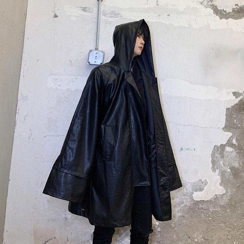 S-XL! Automne sombre et pionnier conception longue section des hommes d'hiver silhouette lâche cuir à capuche coupe-vent marée hip hop masculin coa. y4om #