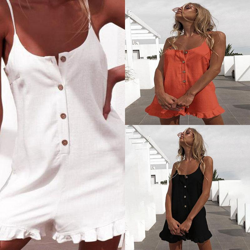Sexy Botão mangas Ruffle Off Shoulder Mulheres Halter Playsuit Mulheres Romper Sexy Playsuit