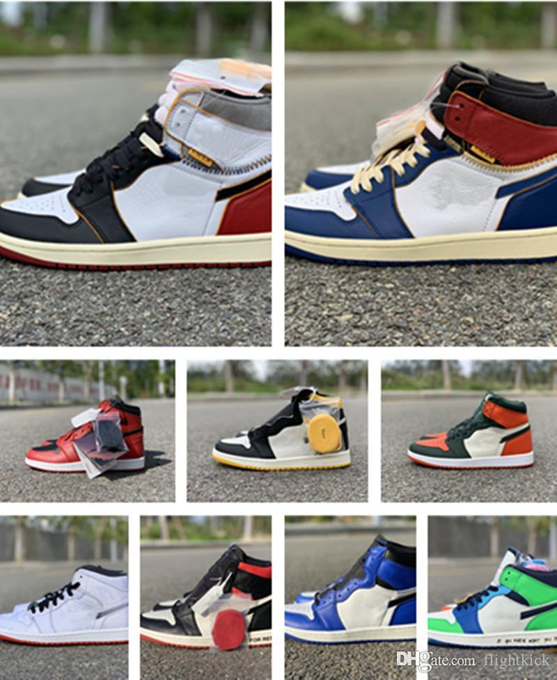 Box 1 High Og Unions x Bred Satin Black Toe Nrg No L S Chicago Royal Varsity Red UNC Fearless 1 명품 디자이너 신발