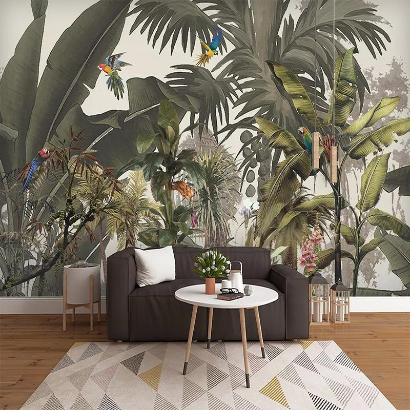 Flor de la planta encargo de la foto del papel pintado 3D selva tropical del arte del pájaro pintura de pared dormitorio impermeable autoadhesivo mural de la etiqueta T200715