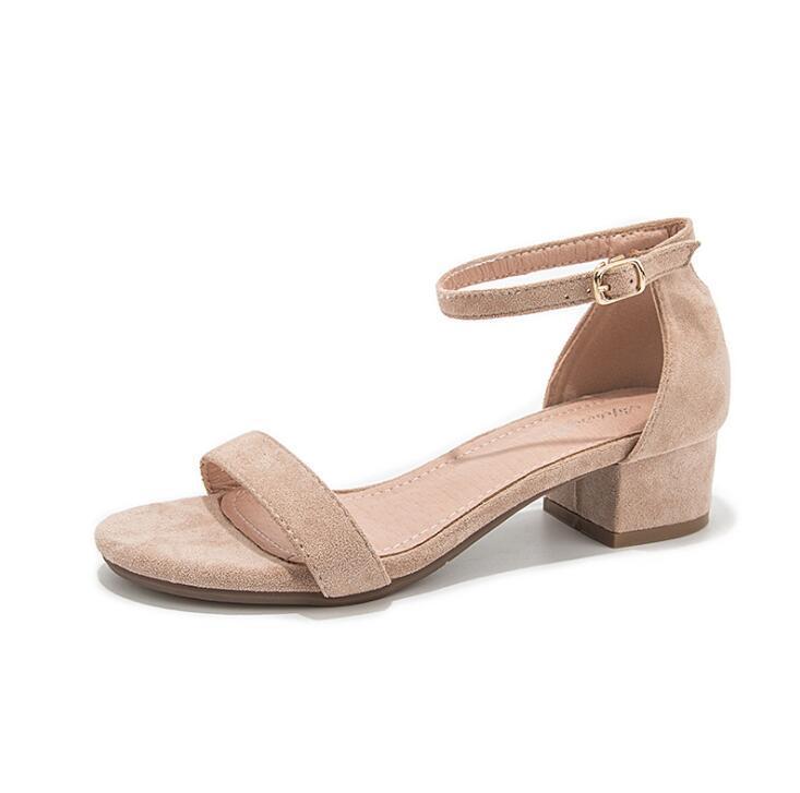 Бежевый гладиатор сандалии лето офис высоких каблуках обувь Женщина Пряжка ремешка Pumps вскользь ботинки женщин плюс размер 34-40 n686