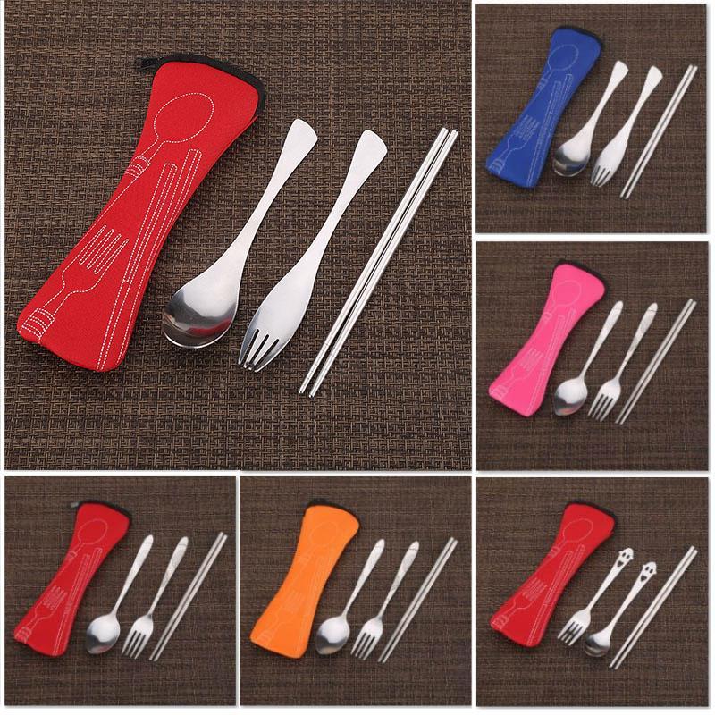 Bolsa de viaje de acero inoxidable de vajilla Tenedor Cuchara Palillo Culery kit con la bolsa reutilizable de picnic al aire libre Vajilla Accesorios WX9-1169