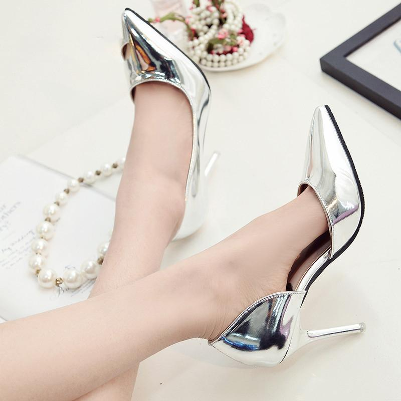 2020 Female sandals Silver high heels female spring sexy side empty shoes with thin shoes Female high heels sandals