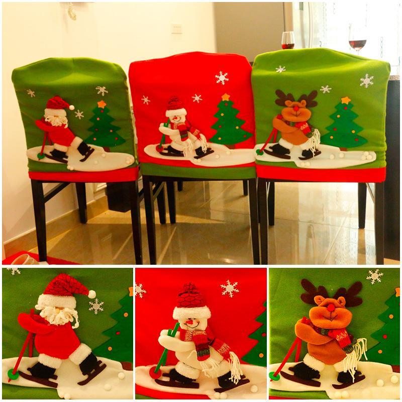 Ski Père Noël bonhomme de neige de Noël Elk président Couverture de Noël du Nouvel An Fêtes de Noël Chapeau pour président Ornements