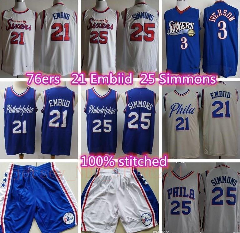 De los hombresPhiladelphiasJoel 76ers 21 Embiid jersey camisetas de baloncesto Ben 25 Simmons camiseta de Allen Iverson 3