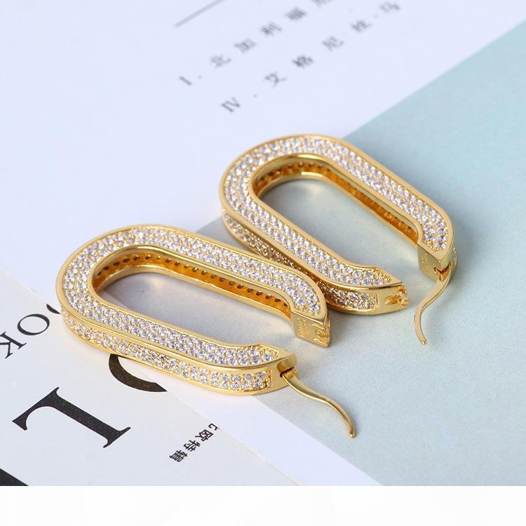 Luxuriöse Qualität Bandohrring mit prickelnden Diamanten in Gold und Silber für Frauen Hochzeit Tropfen überzogenen Ohrring Schmuck PS6718 freien Verschiffen