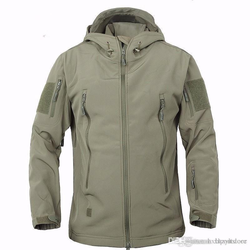 hxlsportstore piel de tiburón chaqueta militar al aire libre de los hombres del deporte de caparazón blando de Waterpoof ropa de la caza táctica de camuflaje con capucha de la chaqueta del Ejército ZYH