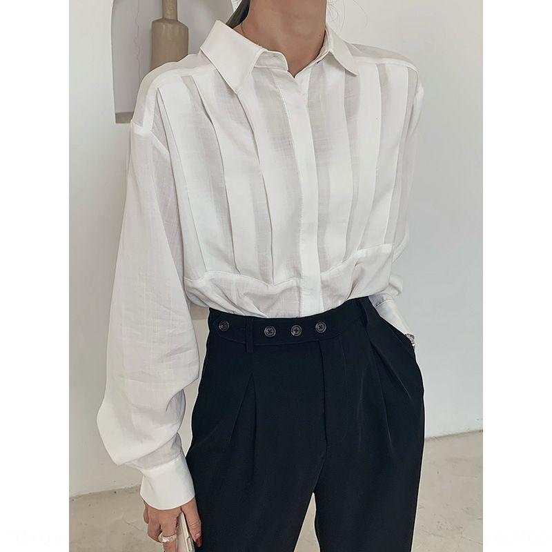 LUy8o vlQH9 MJJ printemps Vêtements niche occidentale couleur pure chemise plissée style coréen de femmes tout âge simple match de réduction sty design