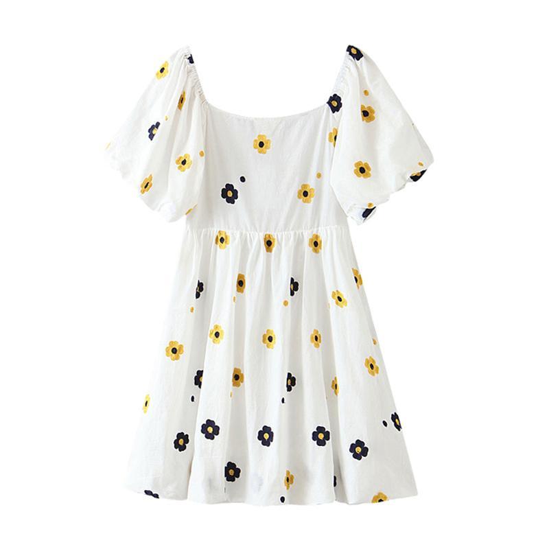 2020 Yaz Çiçek Baskı Tatlı Pamuk Mini Elbise Kadınlar Kısa Kollu Şık Elbiseler Casual A Pileli Elbise vestidos