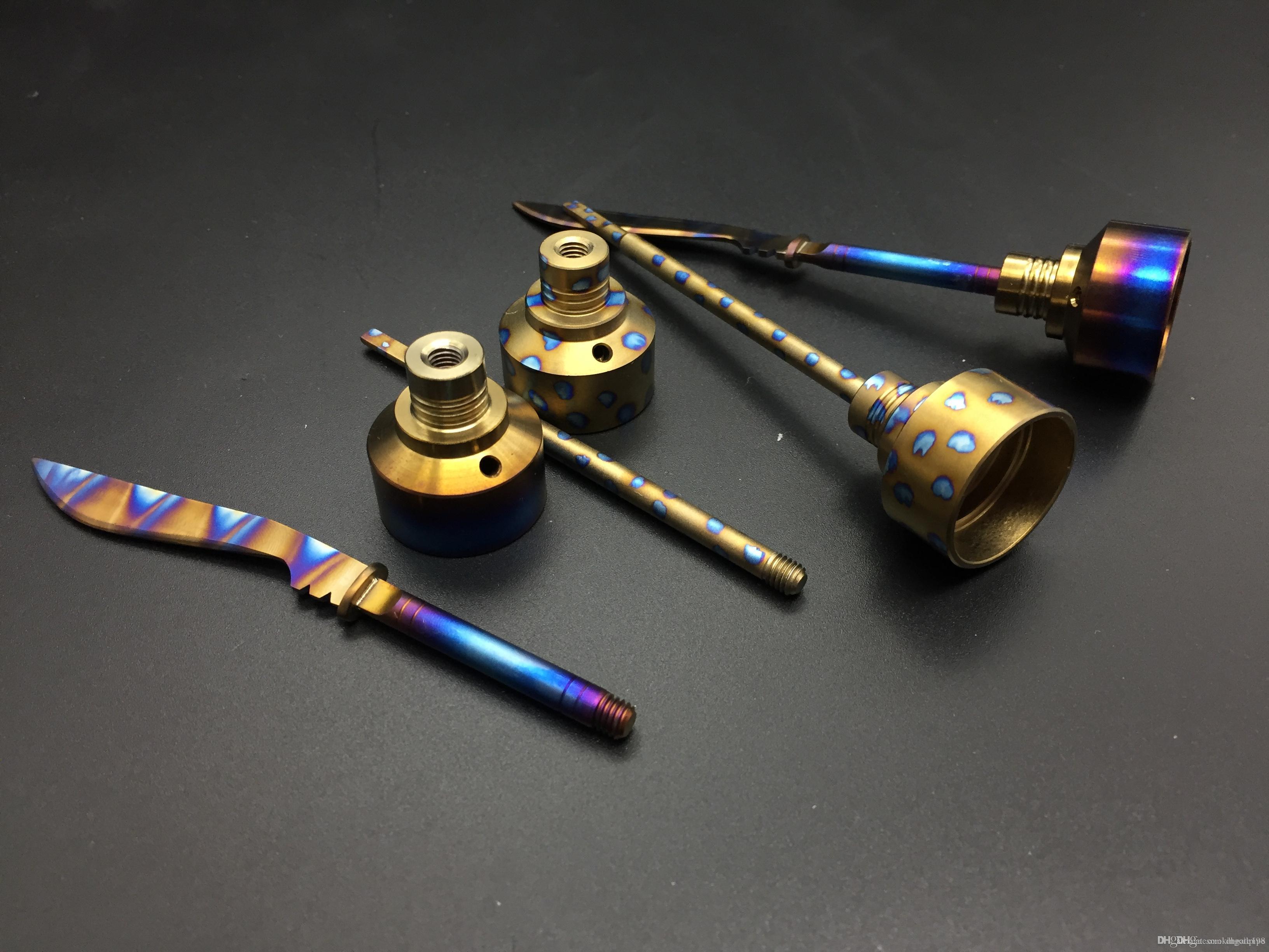 Titanyum Carb Cap gökkuşağı bıçak karbonhidrat kapaklar 14mm ve 18mm Titanyum Nail Kubbesiz Gr 2 Çiviler dab kulesi için su bong dhl ücretsiz