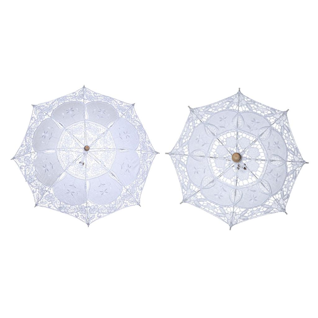 2xFloral Parasol Umbrella Decoração do casamento da noiva Handmade Fotografia Prop