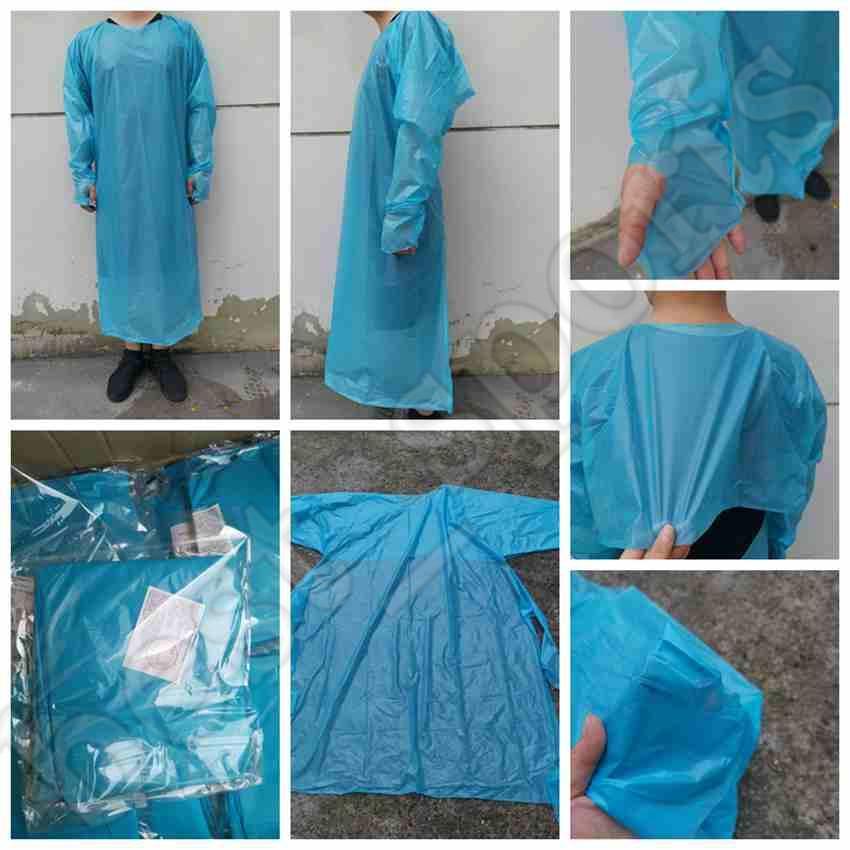 CPE protezione Abbigliamento monouso Isolamento abiti Abbigliamento Tute polsini elastici antipolvere Grembiule Outdoor Protective Clothing ZZA2228-1