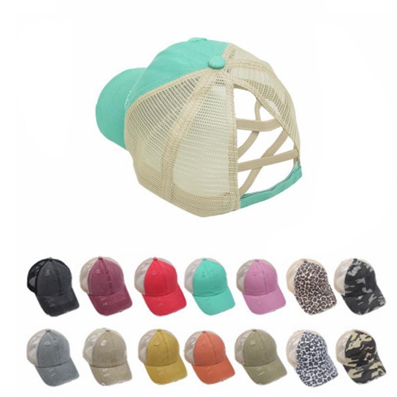 2020 Ponytail Casquette de baseball femmes affligées Washed Caps Coton Casual Summer Snapback Hat Glitter Brim satin Messy Chapeaux IIA303