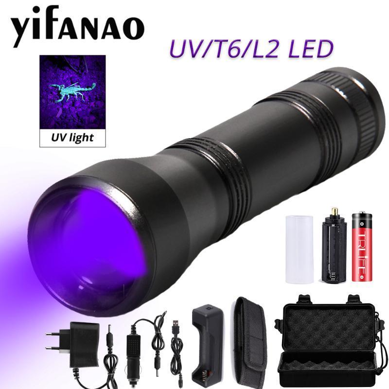 1000LM LED الأشعة فوق البنفسجية الأشعة فوق البنفسجية الشعلة مصباح L2 / T6 الضوء الأبيض 18650 قابلة للشحن 5 طرق تكبير 395nm ضوء أسود