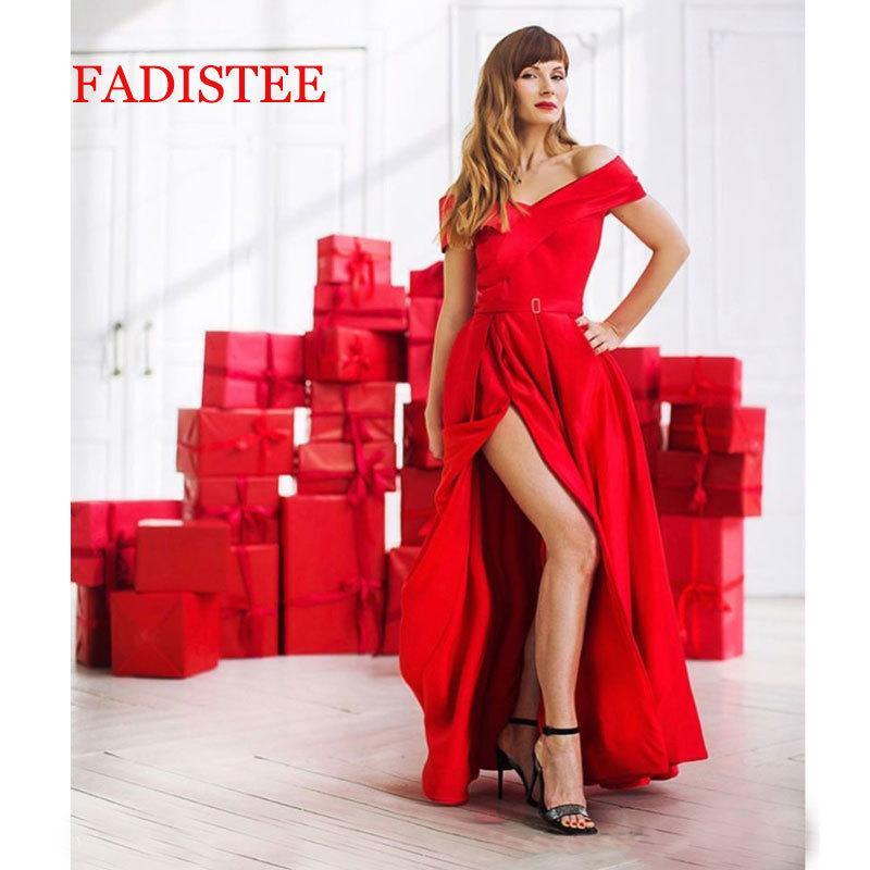 Nueva llegada de noche rojo Borgoña vestido formal vestido noiva sereia prom bata de soiree de lujo vestido atractivo hendidura bolsillos laterales T200718