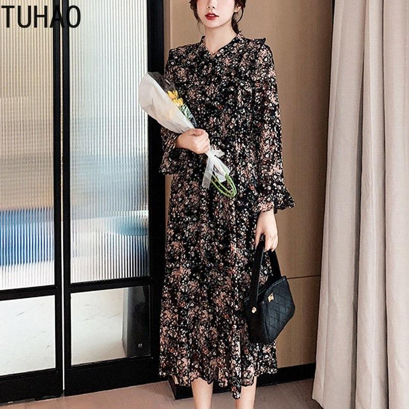TUHAO Escritório Floral Imprimir Chiffon vestidos longos Primavera Imprimir manga comprida vestido Bow alargamento da luva elegante Vestido Império WM181 2CXD #