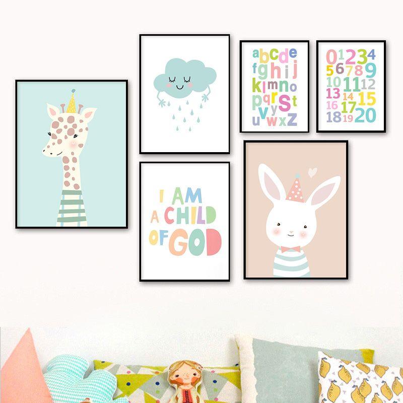 İskandinav Sanat Numaraları Alfabe Tuval Poster Karikatür Hayvan Tavşan Zürafa Duvar Resmi Çocuk Bebek Odası Dekor Baskı Boyama