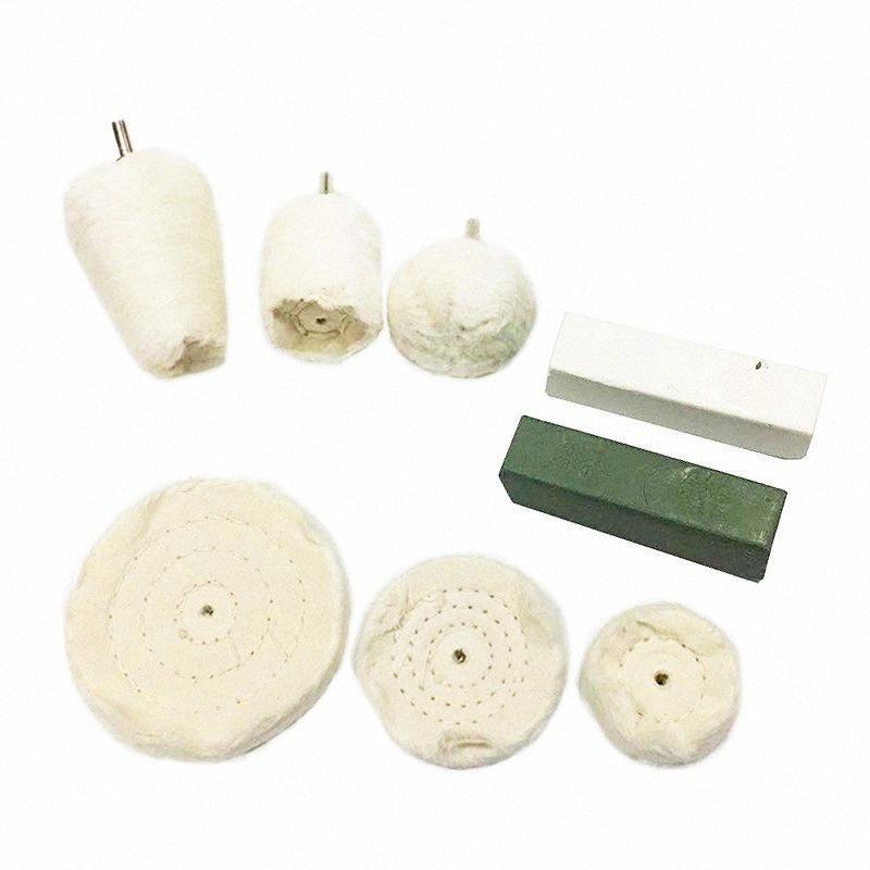 Mop Pad en plastique de roue de polissage Set de polissage du cylindre en métal Roue en coton à manches Tissu Drill 8Pcs ckGd #