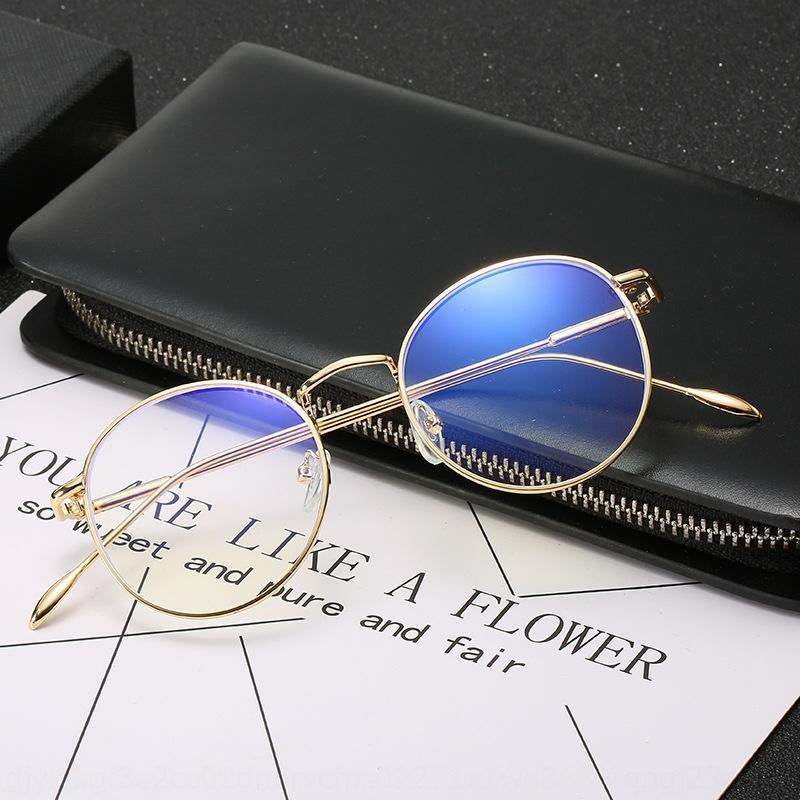 Yeni miyopi çerçeve erkek ve Miyop kadın moda metal karşıtı Mavi-ışını bilgisayar gözlük moda yuvarlak sanat fanı düz gözlük