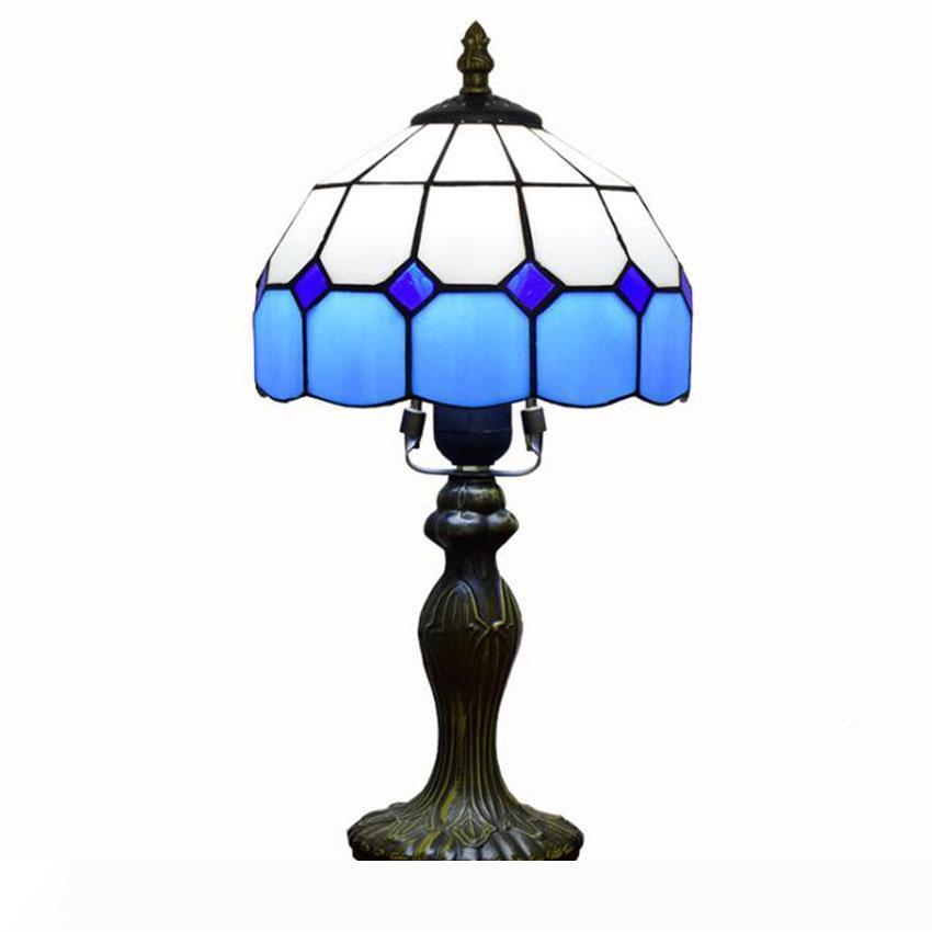 Mediterráneo Estilo Tiffany Lámpara de mesa Restaurante Bar Café DEL vendimia Desk blanco azul claro a cuadros decorativo luz de la tabla