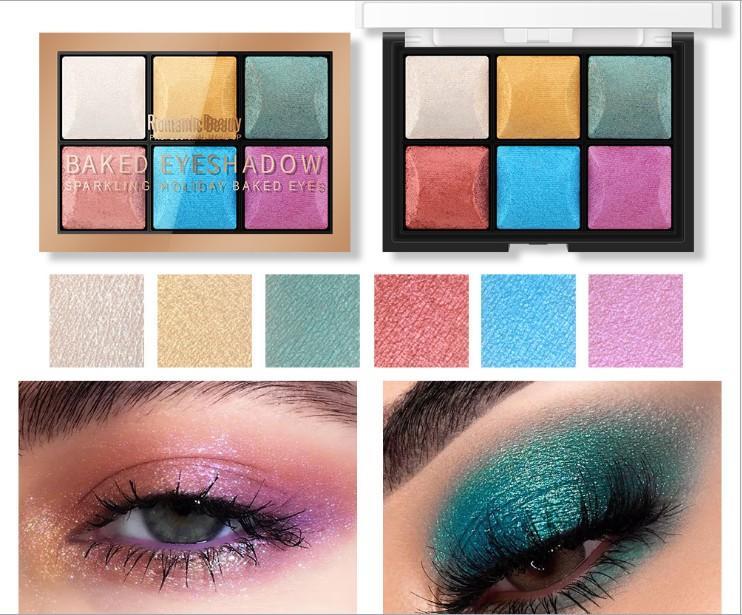 maquillage gros ombre à paupières Six couleurs perle paillettes commerce extérieur vente chaud plateau d'ombre à paupières multi-couleurs éclaircissant durable