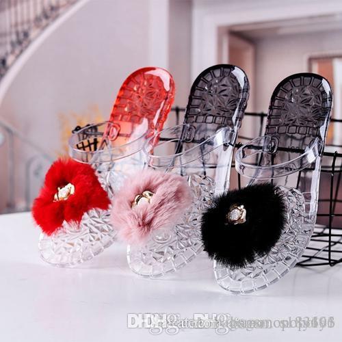2019 sandalias de las mujeres del diseñador de playa de lujo jalea chanclas de diseño diapositivas diapositivas en color caramelo zapatos de piel de cristal resbalón-en las zapatillas