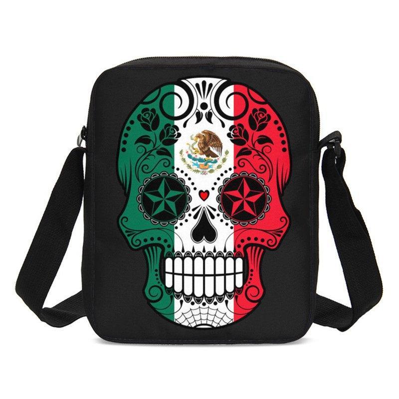 White Skull Black Small Shoulder Bag Girls Boys Cross Body Messenger Satchel Bag