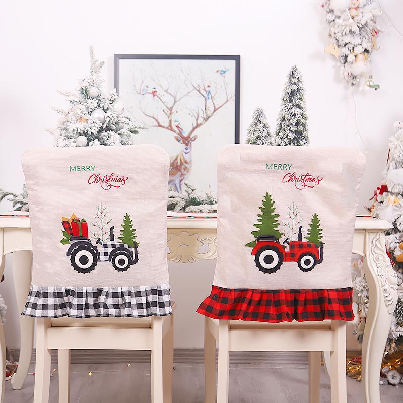 Moda Presidente de Natal Linho Covers Árvore de Natal Criativo Impresso cadeira conjunto interior Hotel Restaurant Decorações de Natal