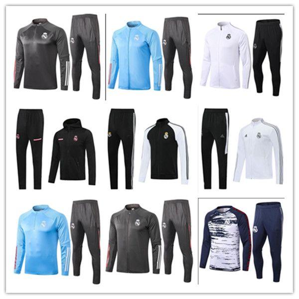 Real Madrid 20 21 PERIGO kit agasalho jaqueta de 2020 MODRIC BENZEMA BALE completa Zip fato de treino de futebol Casacos Fatos Windbreaker Hoodie