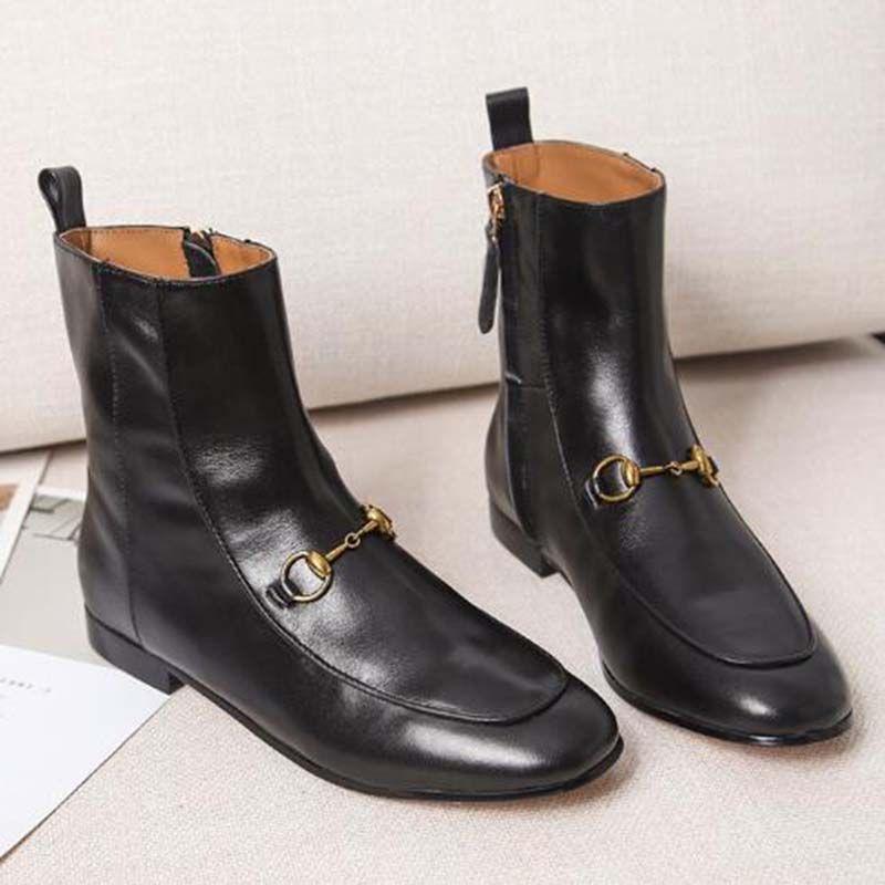 2020 botas de suela plana mulas Princetown zapatos de hebilla Botas de moda Negro reales botas de piel de mujer de cuero genuino S66