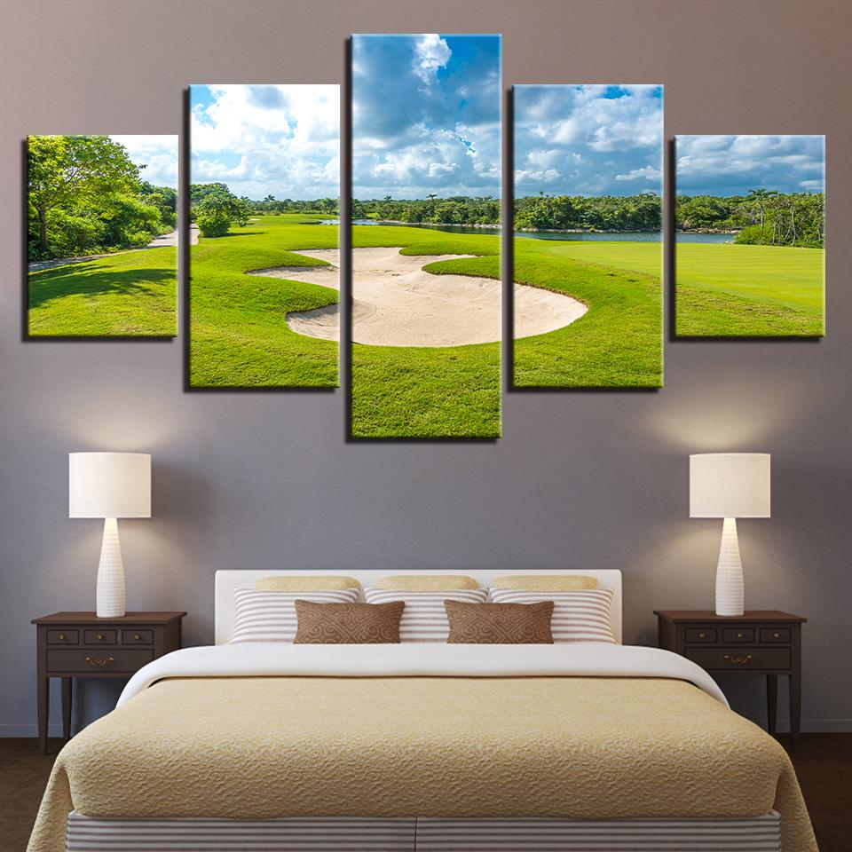 Dipinti su tela Soggiorno Wall Art quadro 5 Pezzi Campo da golf Poster HD Stampe Blue Sky Green Lawn Pictures Home Decor