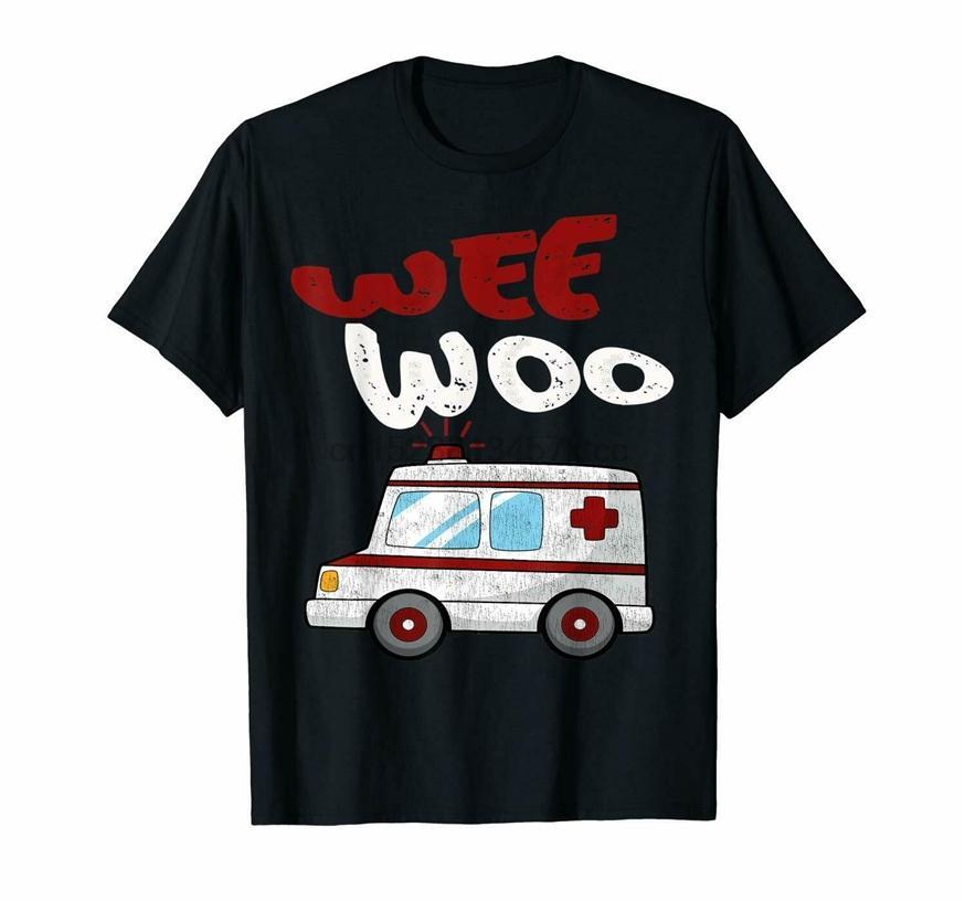 Wee Woo Ambulance Amr ems preto T-shirt S-6XL Sportswear camisetas Unisex engraçado