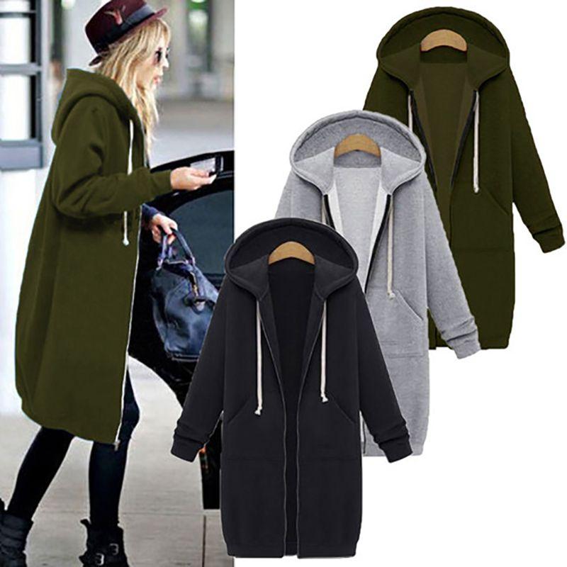 Hgte Herbst Wintermantel Frauen Mode Lässige Lange Jacke mit Kapuze Reißverschluss Mit Kapuze Sweatshirt Vintage Outwear Mantel Plus Größe T200722