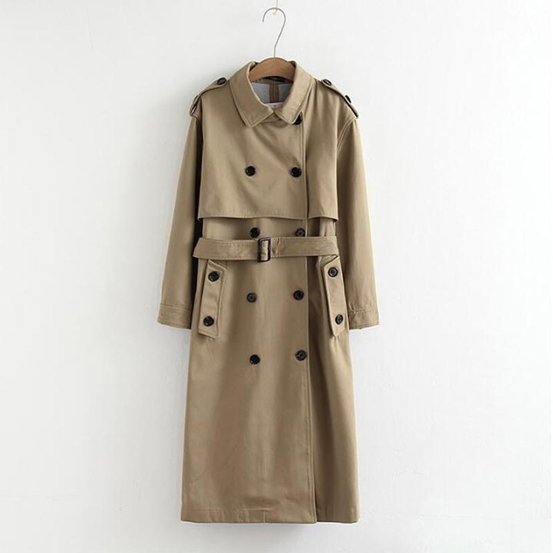 여성 트렌치 코트 여성 캐주얼 솔리드 컬러 더블 브레스트 아웃웨어 새시 오피스 코트 세련된 epaulet 디자인 긴 가을 컬렉션