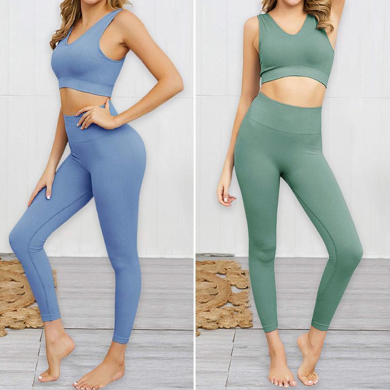 Transparente femmes Yoga Set Fitness Gym Crop Top taille haute Leggings séance d'entraînement Courir Vêtements de sport Costumes Bicolor Bleu / Vert S / M / L