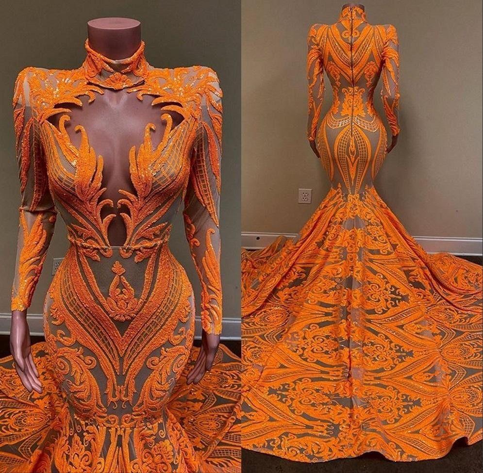 2020 orange Nixe-Abschlussball-Kleider mit langen Ärmeln tiefen V-Ausschnitt Sexy Pailletten African Black Girls Fishtail Abendgarderobe Kleid Plus Size