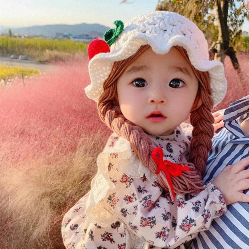 Sombreros lindo para los bebés de la trenza de capo Niños Primavera Beanie hueco hecho a mano del niño Niño de lana orejeras casquillo recién nacido accesorios de fotos Y5e9 #