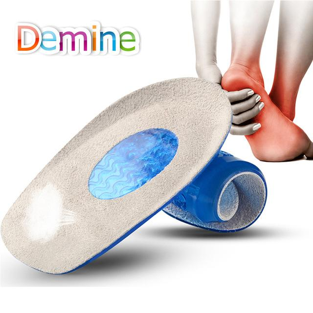 Shoes Demine SEBS Half Insoles Unisex Foot Care Plantar Fasciitis Achilles Tendonitis Heel Spur Pad Pain Relief Flannel Massag Inserts