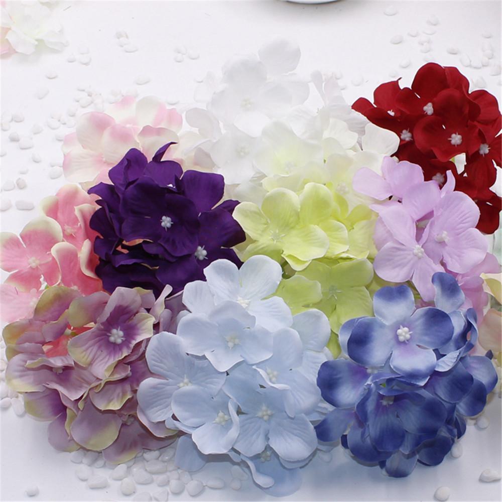 Fleur de soie artificielle Hydrangea Hydrangea Têtes Simulation DIY Fleur Tête de fleur Fleur de soie pour la décoration de la maison de mariage