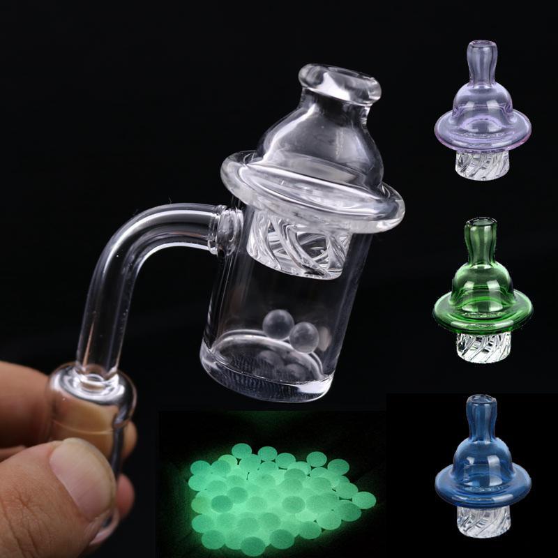Clavo de cuarzo Banger con colorido hilado burbuja Carb Cap y brillante perla Terp 10 mm 14 mm 18 mm Conjunto Para Bongs de cristal más barato