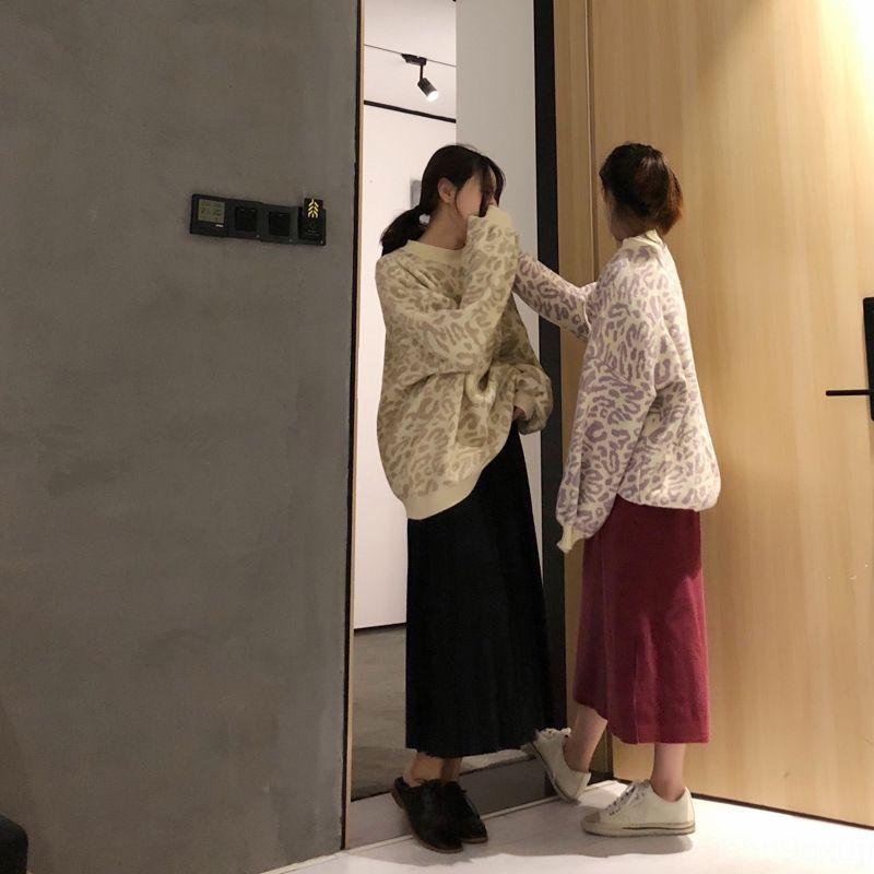 Herbst Berühmtheit faul Stil neue Top-Internet-Winter Rundhals Leoparddruck Pullover Frauen und lose Langarm-Pullover für Frauen qKOX7
